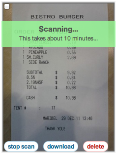 Expensify's Mobile and Web based receipt scanning