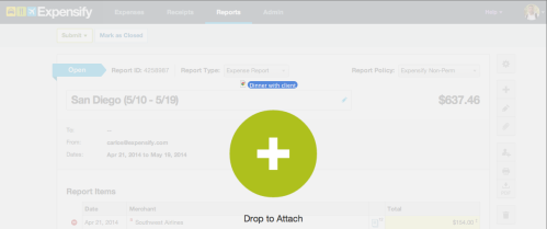 Drag and drop receipt on report to attach it