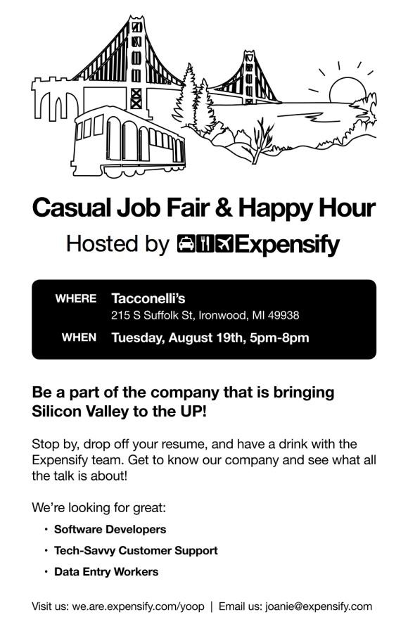 Expensify Job Fair Happy Hour UP Michigan