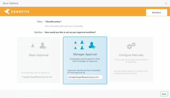zenefits and expensify's direct integration, policy page