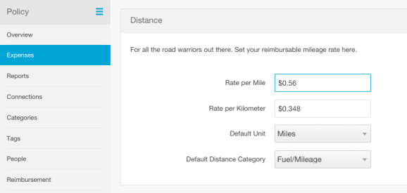 expense mileage tracking